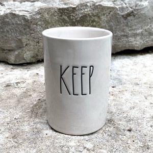 Rae Dunn KEEP Ceramic Cup Bath Accessory